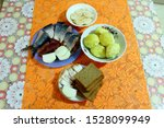 Stock photo still life potatoes with fish herring with onions and radish with bacon 1528099949