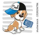 Cute Cartoon Dog Beagle In A...