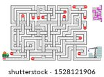 Stock vector logical puzzle game with labyrinth for children and adults help the lorry deliver bricks to the 1528121906