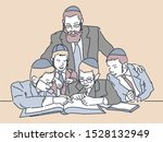 Jewish Children Study. Vector...