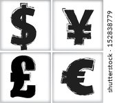 dollar  yen  pound and euro sign | Shutterstock .eps vector #152838779