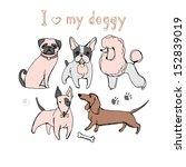 vector set of dogs | Shutterstock .eps vector #152839019