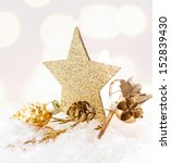 Christmas Card With Golden Sta...