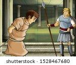 cartoon scene with roman or... | Shutterstock . vector #1528467680
