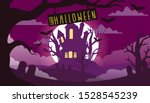 halloween night background with ... | Shutterstock .eps vector #1528545239