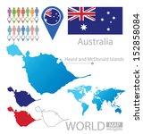 Heard and McDonald Islands. Australia. flag. World Map. vector Illustration.