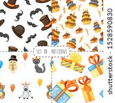 birthday set with seamless... | Shutterstock .eps vector #1528590830