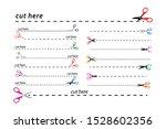 set of cut lines scissors ... | Shutterstock .eps vector #1528602356
