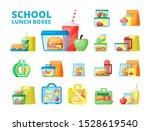 school lunch boxes flat vector... | Shutterstock .eps vector #1528619540