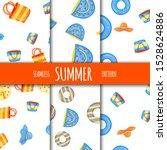 summer seamless pattern set... | Shutterstock .eps vector #1528624886