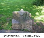 Carved stone seat presented to mark the Diamond Jubilee of Queen Victoria by stonemason John Hobbs in 1897 in Chepstow, UK