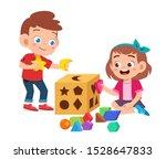 happy cute kids play learn 3d... | Shutterstock .eps vector #1528647833