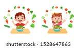 cute happy kids eat salad... | Shutterstock .eps vector #1528647863