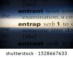 Small photo of entrap word in a dictionary. entrap concept, definition.