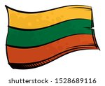 painted lithuania flag waving... | Shutterstock .eps vector #1528689116