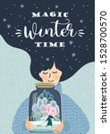 Winter Illustration With Cute...
