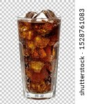 Cola in glass with ice cubes on ...