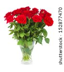 Stock photo bouquet of scarlet roses in vase isolated on white background 152877470