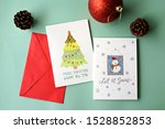 top view hand drawn christmas... | Shutterstock . vector #1528852853