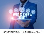 Small photo of Handwriting text writing Want To Know A Secret Question. Concept meaning to divulge a confidential vital information Male human wear formal work suit presenting presentation using smart device.