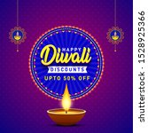 happy diwali discounts upto 50... | Shutterstock .eps vector #1528925366