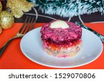 Stock photo dressed herring or herring under a fur coat symbol of the new year traditional russian cuisine 1529070806