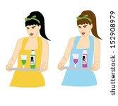 woman serving toxic  vector... | Shutterstock .eps vector #152908979