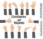 set hands in different gestures ... | Shutterstock .eps vector #1529099480