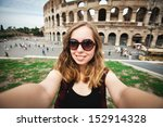 pretty young girl tourist in... | Shutterstock . vector #152914328