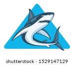 shark in blue triangle  vector... | Shutterstock .eps vector #1529147129