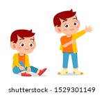 happy cute kid boy do dressing... | Shutterstock .eps vector #1529301149