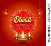 happy diwali greetings card... | Shutterstock .eps vector #1529312609