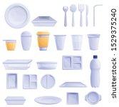 plastic tableware icons set.... | Shutterstock .eps vector #1529375240