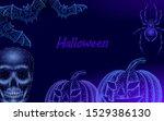 halloween 3d pumpkin jack bats...   Shutterstock .eps vector #1529386130