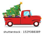 red christmas truck and tree... | Shutterstock .eps vector #1529388389