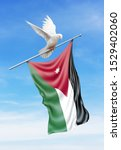Palestine Flag On A Pole Is...