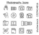 photography icon set in thin... | Shutterstock .eps vector #1529414816