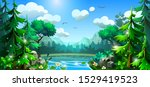 summer forest with a river and... | Shutterstock .eps vector #1529419523