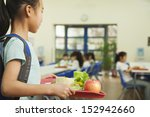 Stock photo school girl holding food tray in school cafeteria 152942660