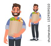 happy man holding a grocery bag ... | Shutterstock .eps vector #1529509310