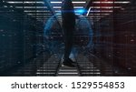 cyber warfare concept.Image of hacker man in mainframe server data center of Enemy. - stock photo