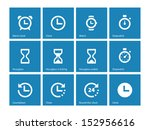 time and clock icons on blue...