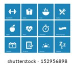 fitness icons on blue... | Shutterstock . vector #152956898
