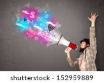 handsome man shouting into... | Shutterstock . vector #152959889