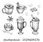 hot chocolate drink. outline.... | Shutterstock .eps vector #1529609270