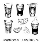 sketch alcohol drinks shots.... | Shutterstock .eps vector #1529609273