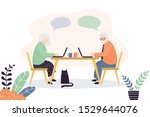 old people at workplace.... | Shutterstock .eps vector #1529644076