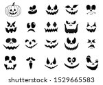 set of halloween scary pumpkins ... | Shutterstock .eps vector #1529665583