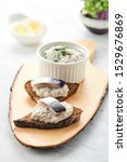 Stock photo forshmak traditional jewish cuisine sandwich with minced herring fillets with apple onion and 1529676869