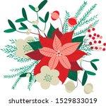 vector cristmas floral pattern... | Shutterstock .eps vector #1529833019